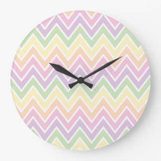 Pastel Chevron Stripe Large Clock