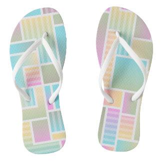 Pastel Color Blocks Pattern Flip Flops