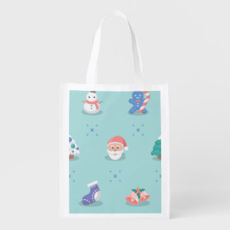 Pastel Color Christmas Characters Seamless Pattern Reusable Grocery Bags