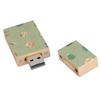 Pastel Color Christmas Characters Seamless Pattern Wood USB 2.0 Flash Drive