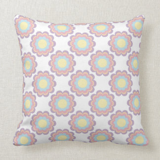 Pastel Color Flower Pattern Throw Pillow