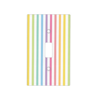 Pastel Color Rainbow Stripes Pattern Light Switch Cover