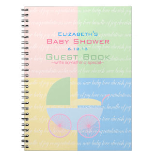 Pastel Colored Baby Shower Guest Book- Spiral Notebook
