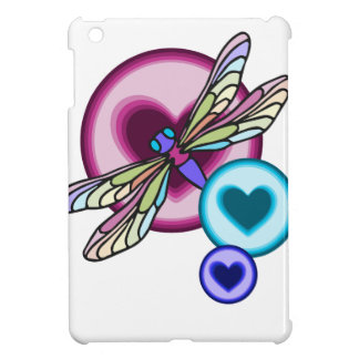 Pastel colored dragonfly with blue pink and purple iPad mini covers