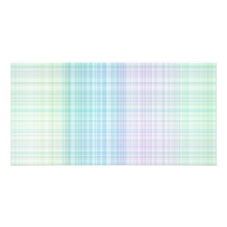 pastel colored gingham pattern photo card