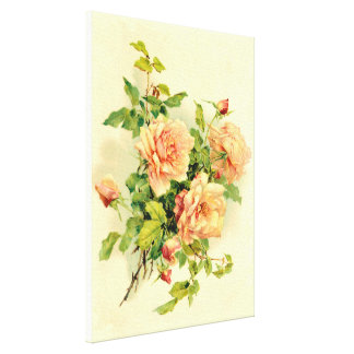 Pastel colored roses canvas prints