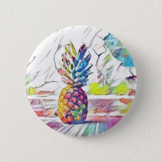 Pastel Colorful Watercolor Pineapple 2 Inch Round Button