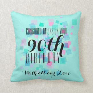 Pastel Colors 90th Birthday Custom Pillow 3