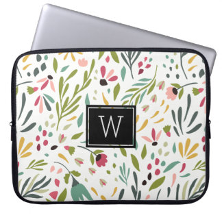 Pastel Colors Botanical Flowers & Leafs Pattern Laptop Sleeve