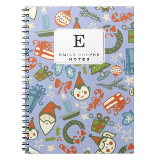 Pastel Colors Christmas Characters Pattern Note Books