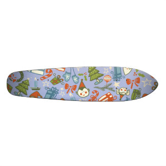 Pastel Colors Christmas Characters Pattern Skate Board