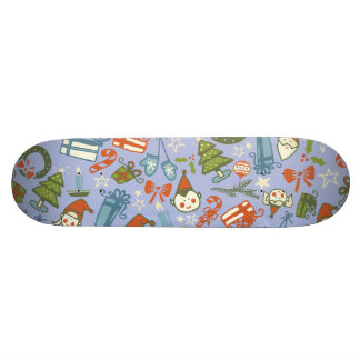 Pastel Colors Christmas Characters Pattern Skateboards