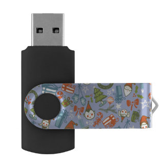 Pastel Colors Christmas Characters Pattern Swivel USB 2.0 Flash Drive