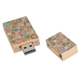 Pastel Colors Christmas Characters Pattern Wood USB 2.0 Flash Drive