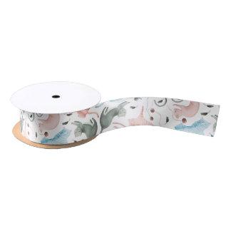 Pastel Colors Cute Cats & Yarn Seamless Pattern Satin Ribbon