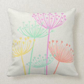 Pastel Colors Dandelion Seedheads Flowers Summer Throw Pillow