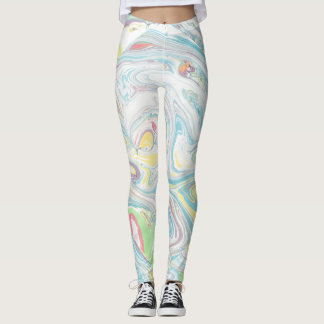 Pastel Colors Marbleized Swirly Background Leggings