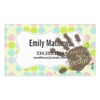 Pastel Colors, Polka Dot; Funny Mom Business Card Templates