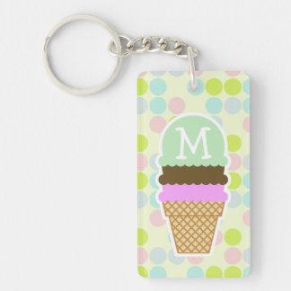 Pastel Colors, Polka Dot; Ice Cream Cone Keychain