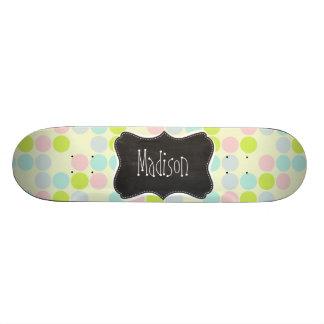Pastel Colors, Polka Dot; Vintage Chalkboard Skate Board Decks