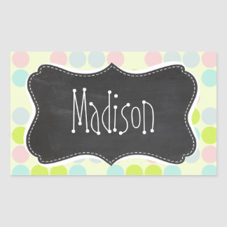 Pastel Colors, Polka Dot; Vintage Chalkboard Sticker