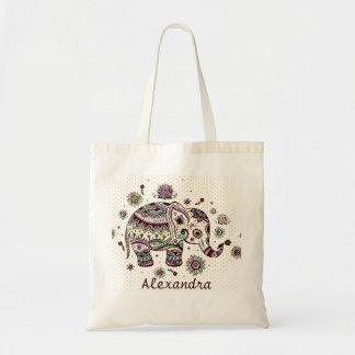 Pastel Colors Retro Flowers & Elephant Tote Bag