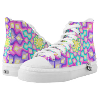 Pastel Colors Spring Blossom Mandala Pattern High Tops