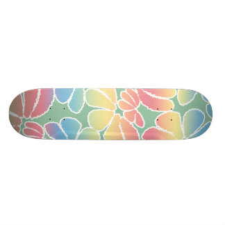 Pastel Colors Whimsical Ikat Floral Doodle Pattern Skate Board Decks