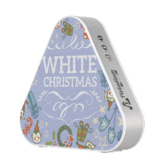 Pastel Colors White Christmas Characters Pattern Blueooth Speaker