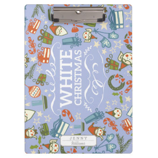 Pastel Colors White Christmas Characters Pattern Clipboards