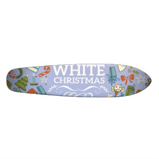 Pastel Colors White Christmas Characters Pattern Skate Decks