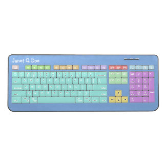 Pastel Colors with Name Wireless Keyboard
