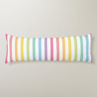 Pastel Colour Rainbow Stripes Pattern Body Pillow