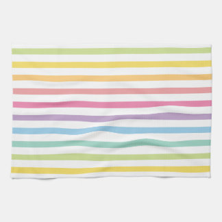 Pastel Colour Rainbow Stripes Pattern Kitchen Towel