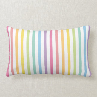 Pastel Colour Rainbow Stripes Pattern Lumbar Pillow