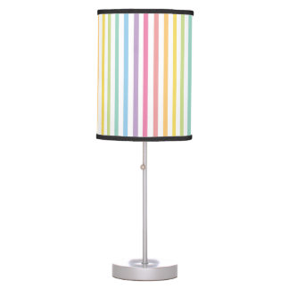 Pastel Colour Rainbow Stripes Pattern Table Lamp