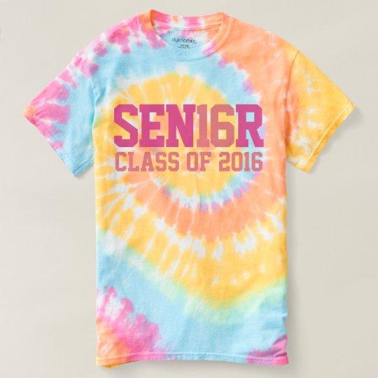 Pastel Colour Senior 16 Class of 2016 Tie-Dye T-shirt