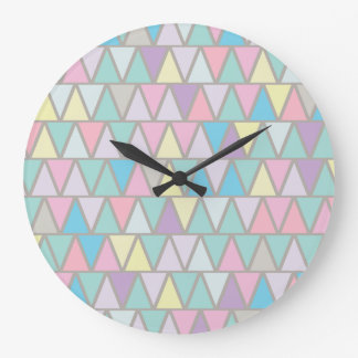 Pastel Colour Triangle Pattern Large Clock