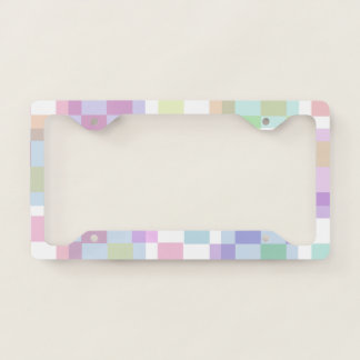 Pastel Coloured Checkers License Plate Frame
