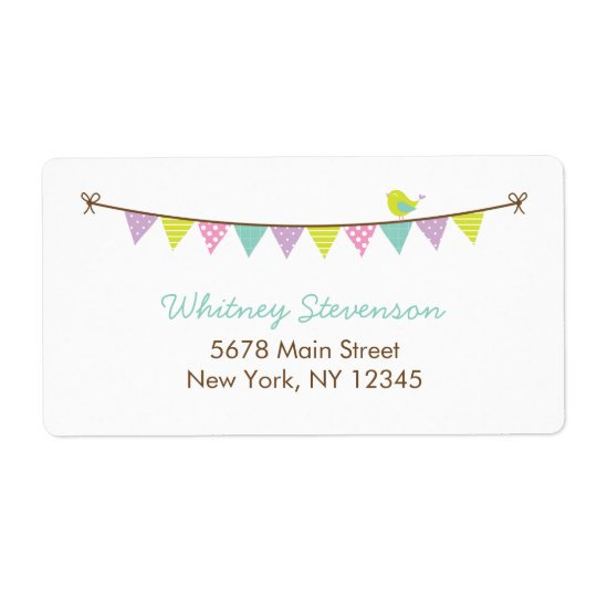 Pastel Colours Patterned Bunting and Cute Bird Shipping Label