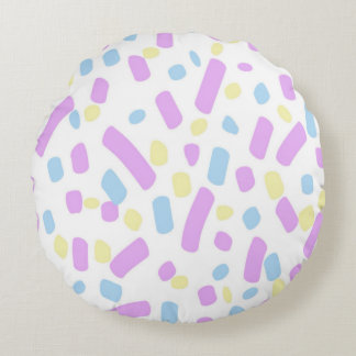 Pastel Confetti Artwork Design Round Pillow
