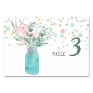 Pastel Confetti Mason Jar Wedding Table Card