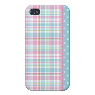 Pastel Creations Plaid Dots in Pink and Blue iPhone 4 Cases