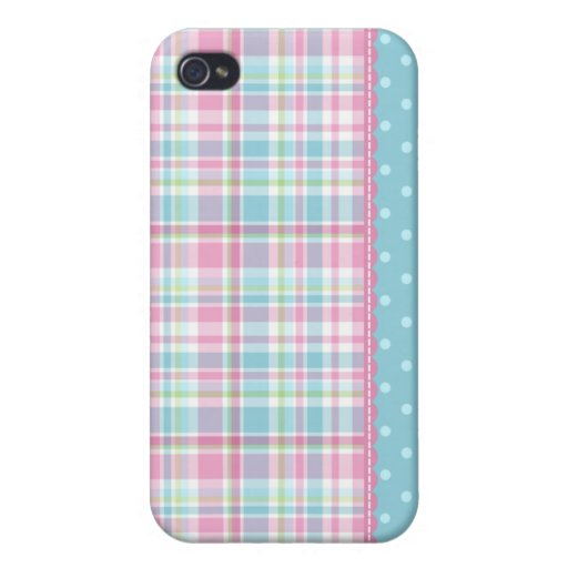 Pastel Creations Plaid Dots in Pink and Blue iPhone 4/4S Covers