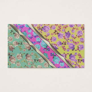 Pastel Cute Hipster Trendy Colorful Floral Stripes Business Card