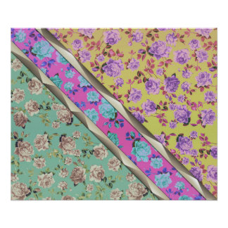 Pastel Cute Hipster Trendy Colorful Floral Stripes Poster