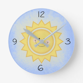 Pastel Cute Nursery Sun Sunshine Round Clock
