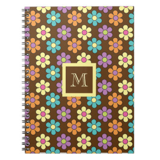 Pastel Daisy Pattern on Brown with Monogram Spiral Note Books