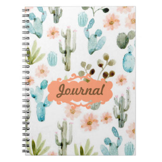 Pastel Desert Cactus Spiral Journal Lined Notebook