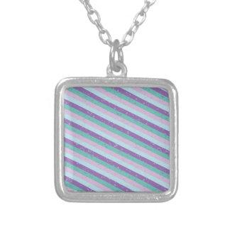 Pastel Diagonal Stripe Pattern Pendant Necklace